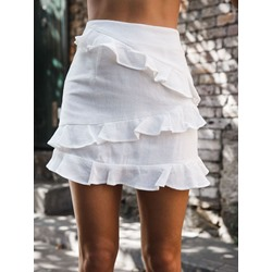 A-Line Plain Falbala Women's Skirt