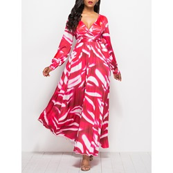 Long Sleeve Expansion V Neck Women's Maxi Dress
