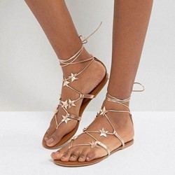 Shoespie Cute Star Casual Thong Lace-Up Plain Slipper