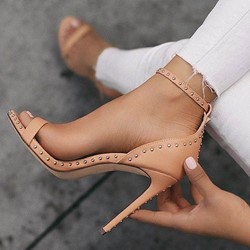 Pink Line-Style Buckle Rivet Stiletto Heels