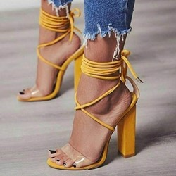 Cute Yellow Chunky Heel Lace-Up Heel Sandals