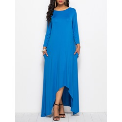 Asymmetric Fall Plain Casual Women's Maxi Dress