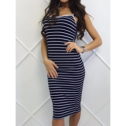 Shoespie Spaghetti Strap Stripe Women's Bodycon Dress