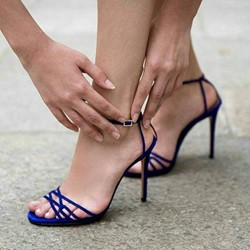 Special Blue Ankle Strap Stiletto High Heels