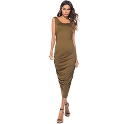 Shoespie Pleated Plain Sccop Women's Bodycon Dress