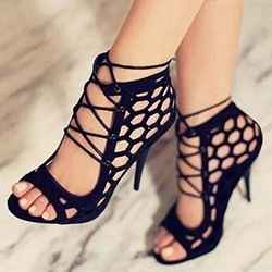 Sexy Black Lace-Up Suede Stiletto High Heels