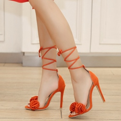 Cute Ruffles Open Toe Lace-Up Stiletto Heels