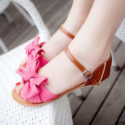 Cute Bowknot Peep Toe Heel Covering Slide Sandals