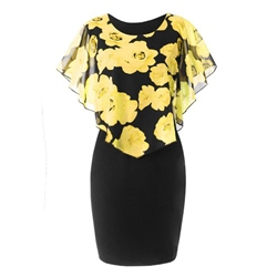 Shoespie Chiffon Patchwork Plusee Women's Bodycon Dress