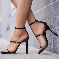 Sexy Black Open Toe Zipper Stiletto Heel Sandals