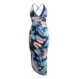 Shoespie V Neck Pullover Print Women's Bodycon Dress