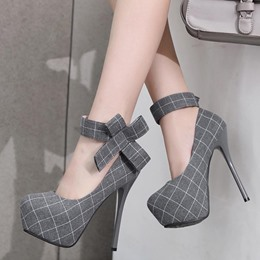 Super Cute Bow Velcro Gingham Stiletto Heels