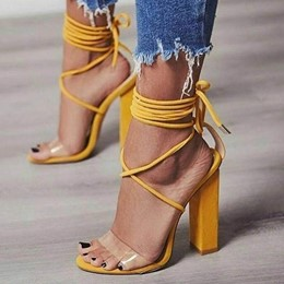 Yellow High Heel Lace-Up Jelly Shoes