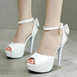 Cute Bow Platform Peep Toe Stiletto Heels