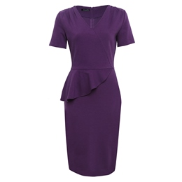 Shoespie V Neck Plain Falbala Women's Bodycon Dress