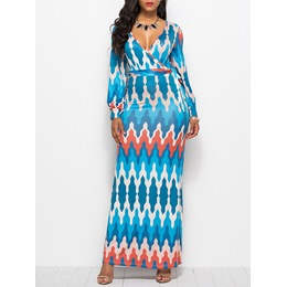 Long Sleeve Pullover Print Women's Maxi Dress
