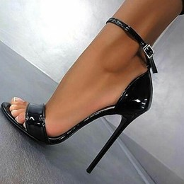 Black Sexy Heel Covering Buckle Stiletto Sandals