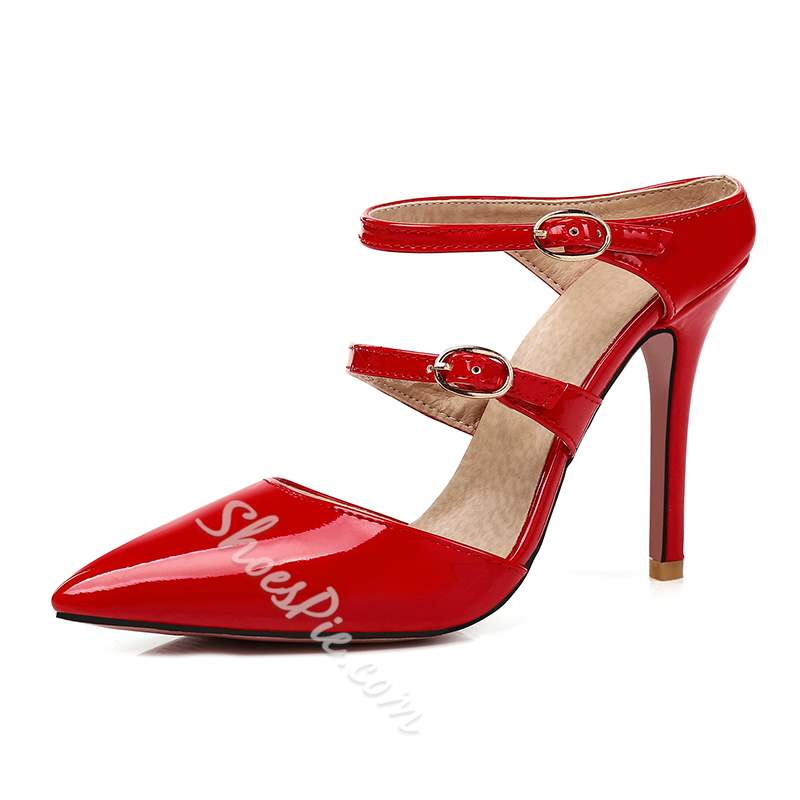 Buckle Pointed Toe Stiletto Heels