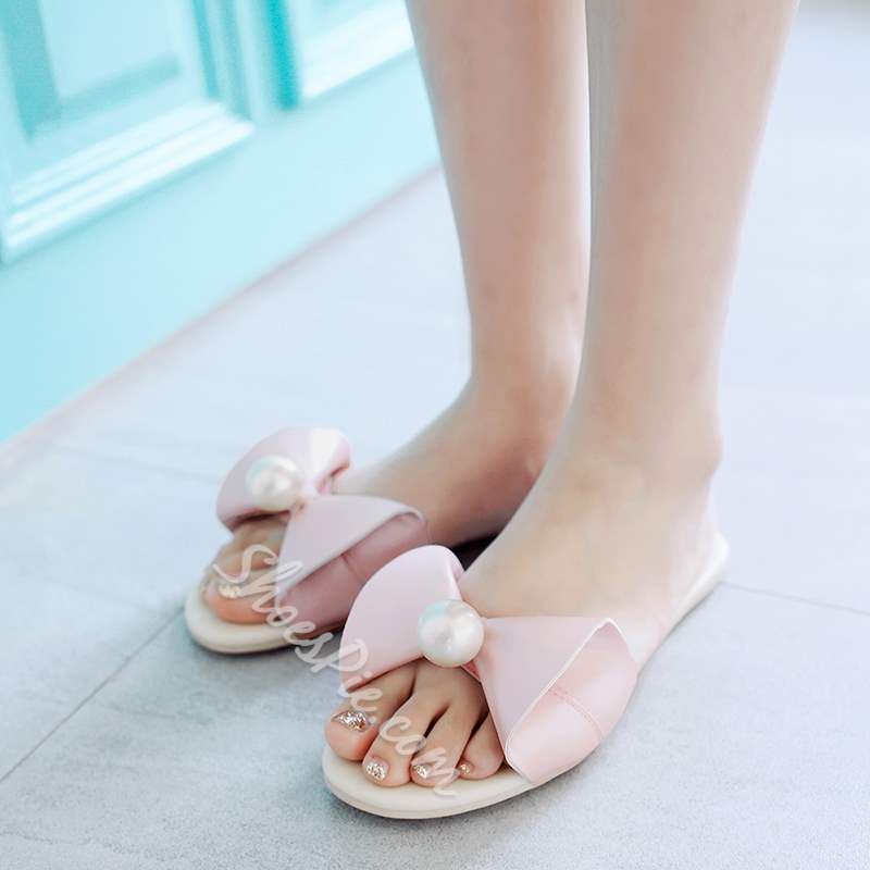 Big Beads Buckle Comfortable Flat Sandals