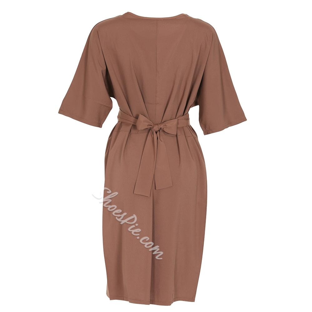 Shoespie Straight Round Neck Plain Women's Bodycon Dress