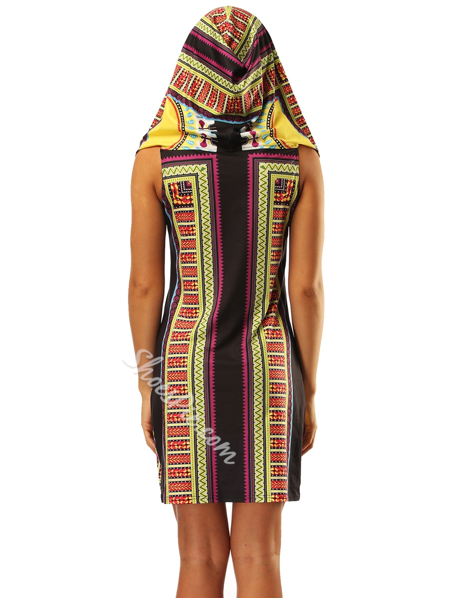 Shoespie Pullover Hooded Print Women's Bodycon Dress