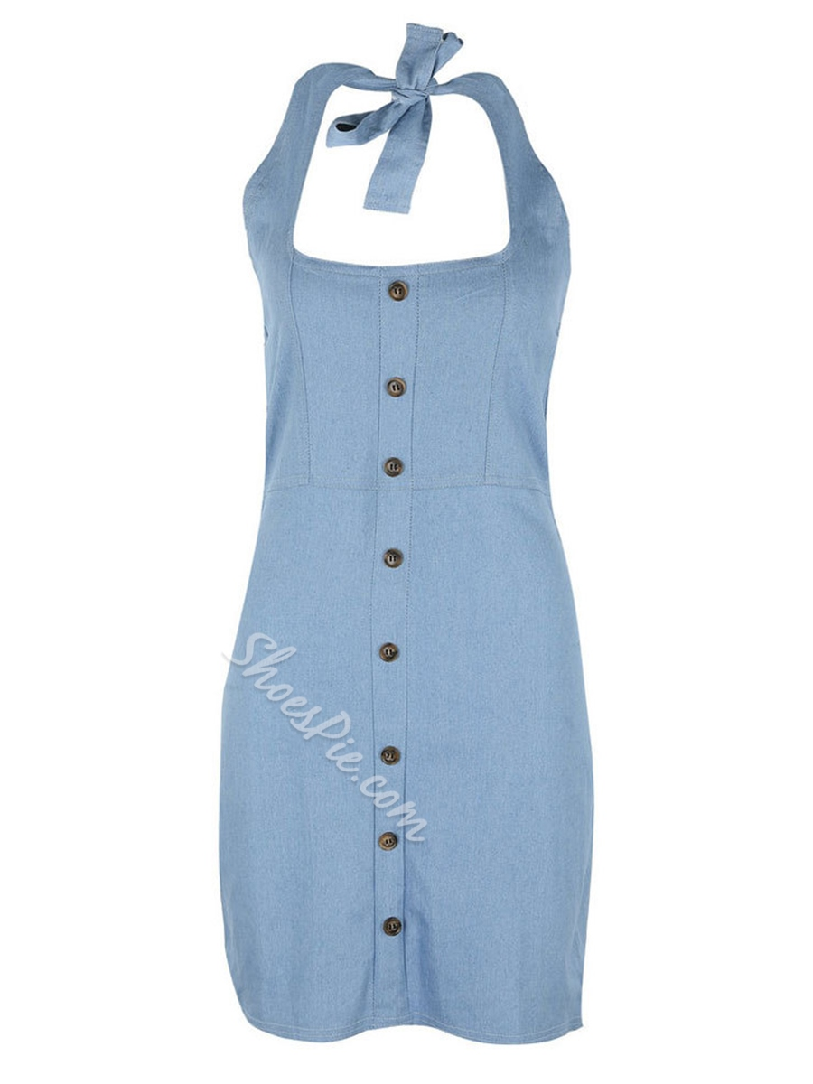 Shoespie Button Halter Jeans Women's Bodycon Dress