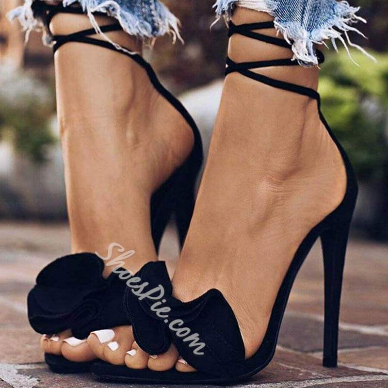 Black Ruffles Open Toe Lace-Up Stiletto Heel Sandals