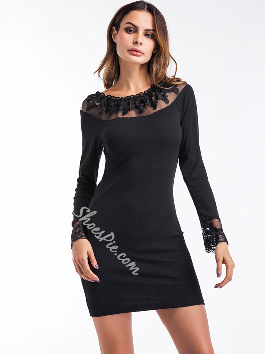 Shoespie Patchwork Regular Women's Bodycon Dress