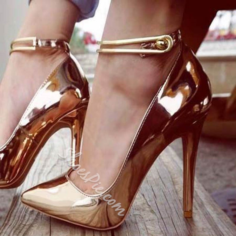 Golden Plain Pointed Toe Buckle Stiletto Heels