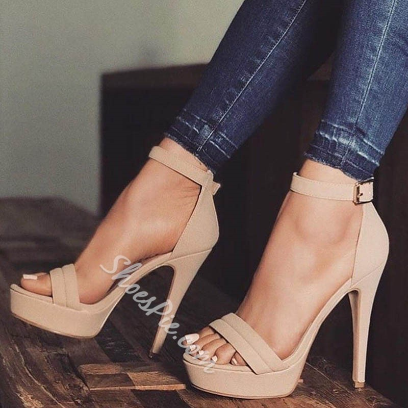 Classic Light Apricot Line-Style Buckle Stiletto Heels