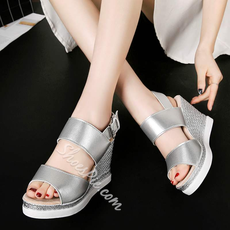 Shoespie Strappy Buckle Peep Toe Wedge Heels
