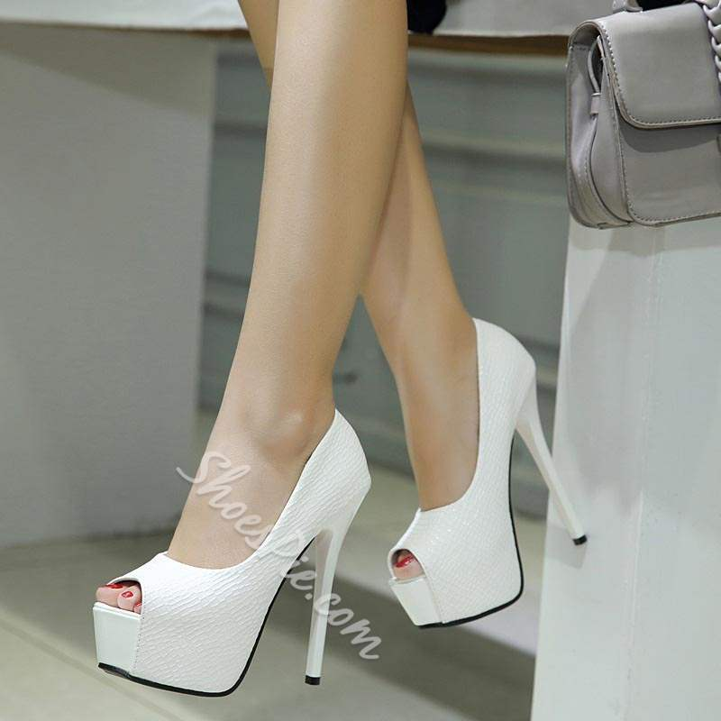 Classic Platform Peep Toe Slip-On Stiletto Heels