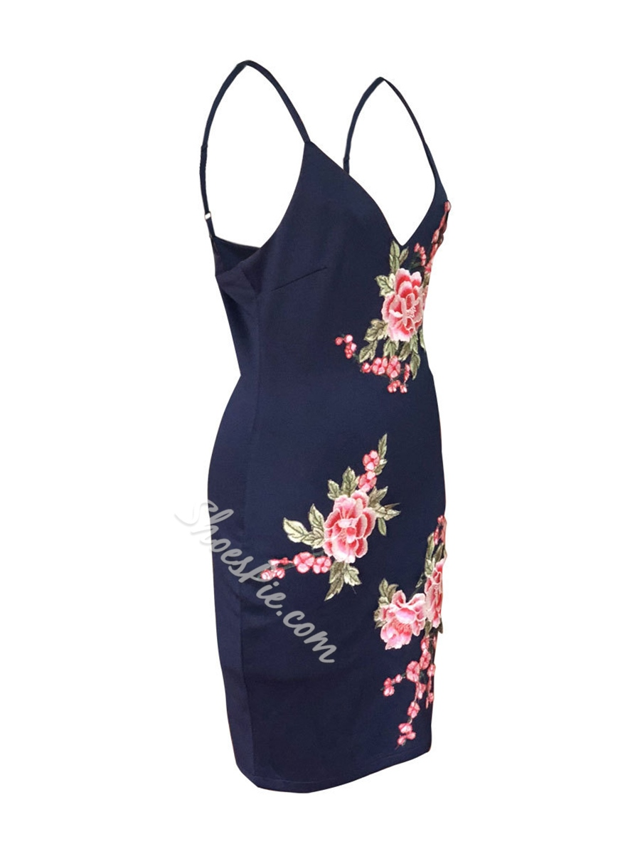 Shoespie Embroidery V Neck Floral Women's Bodycon Dress