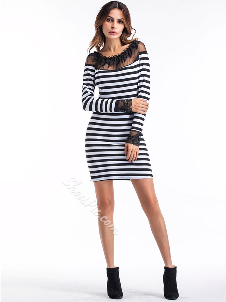 Shoespie Patchwork Stripe Women's Bodycon Dress