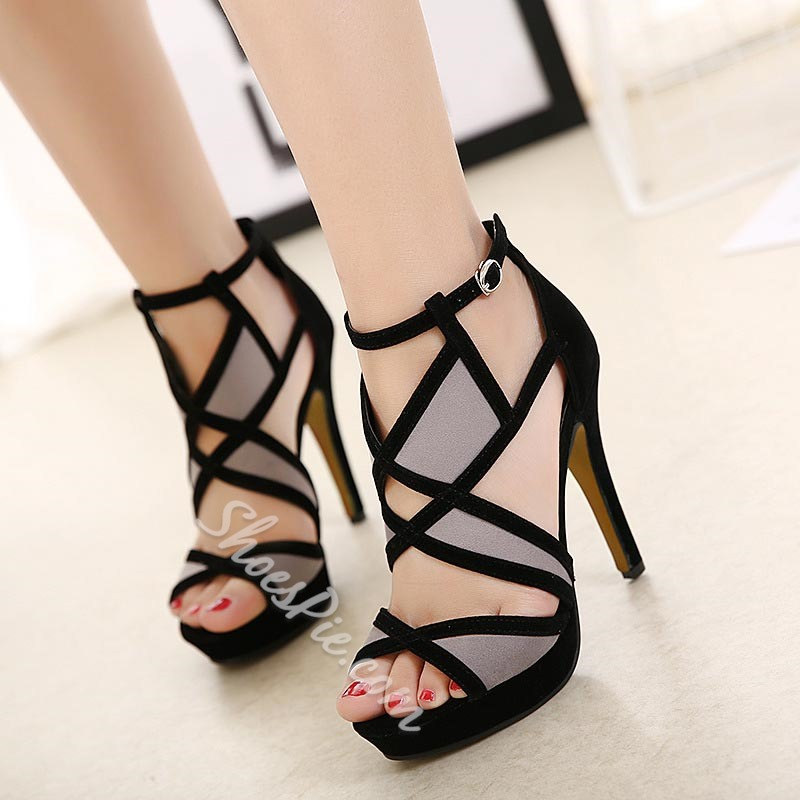 Color Block Buckle Platform Stiletto Heels