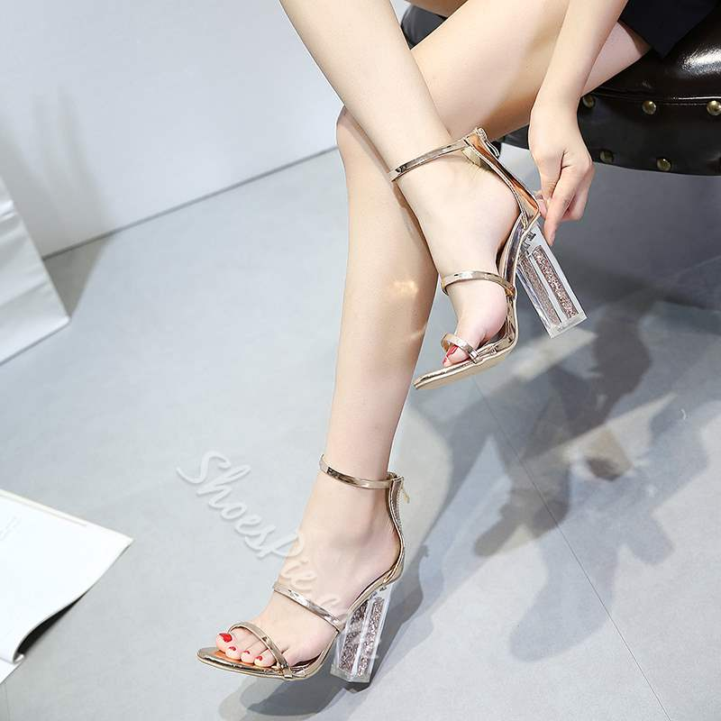 Golden High Heel Jelly Dress Sandals