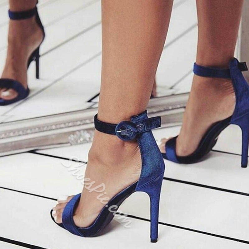 Shoespie Suede Blue Line-Style Buckle Stiletto Sandals