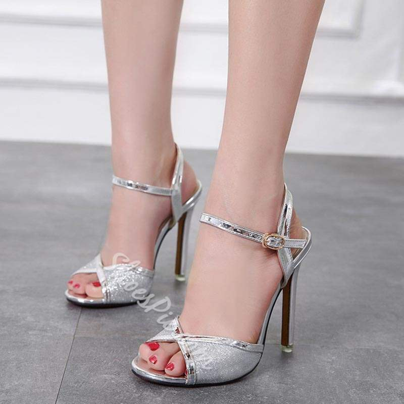 Shoespie Ankle Strap Buckle Peep Toe Stiletto Heels