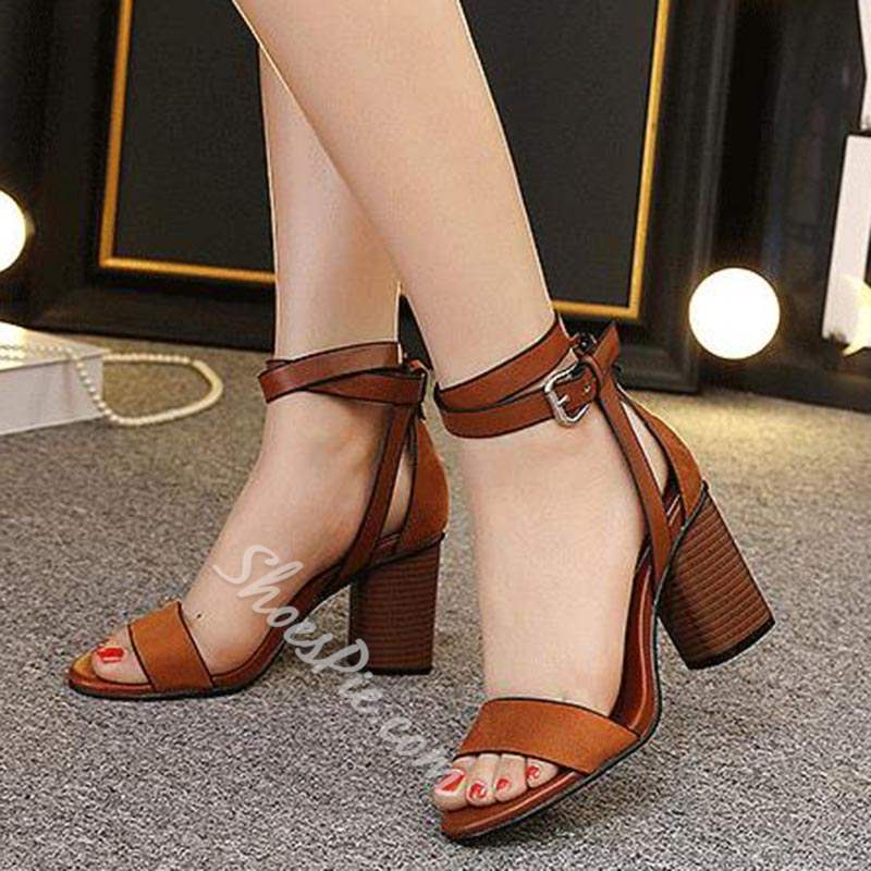 Shoespie Classic Buckle Chunky Heel Dress Sandals