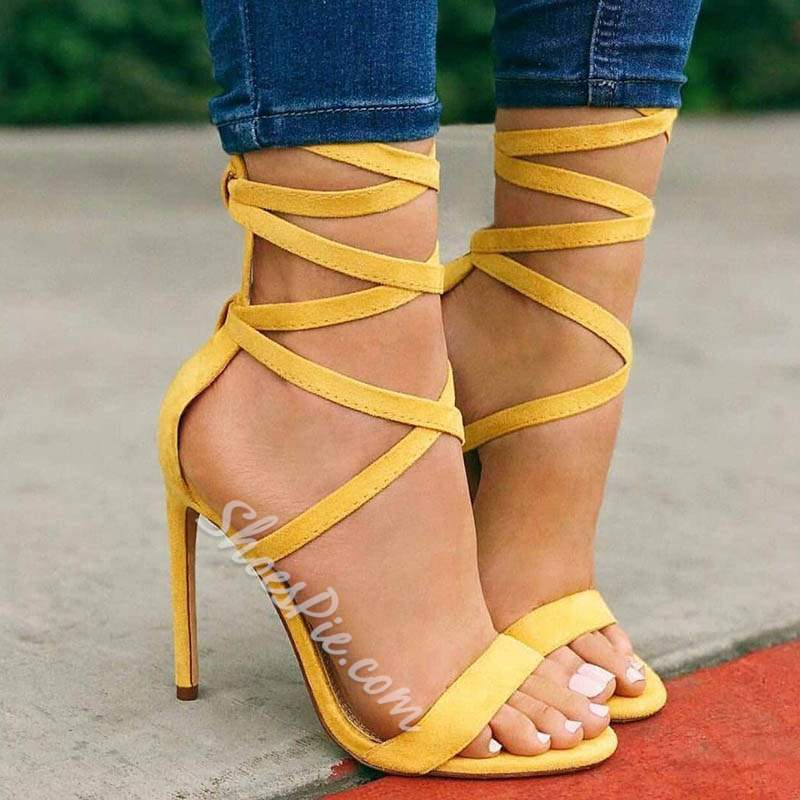 Cute Yellow Open Toe Lace-Up Stiletto Heel Sandals