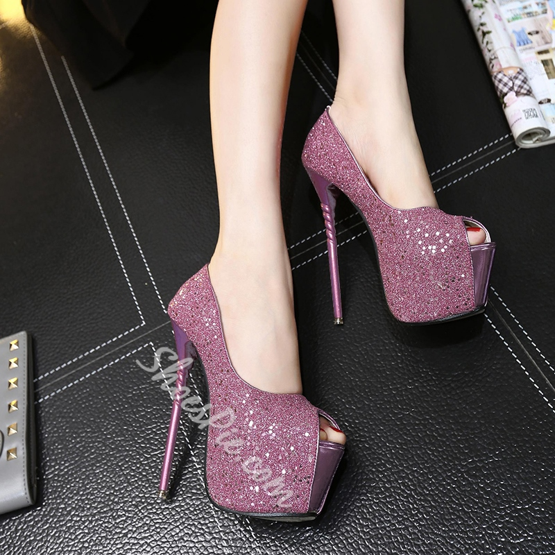 Shoespie Sequined Sky High Platform Heels