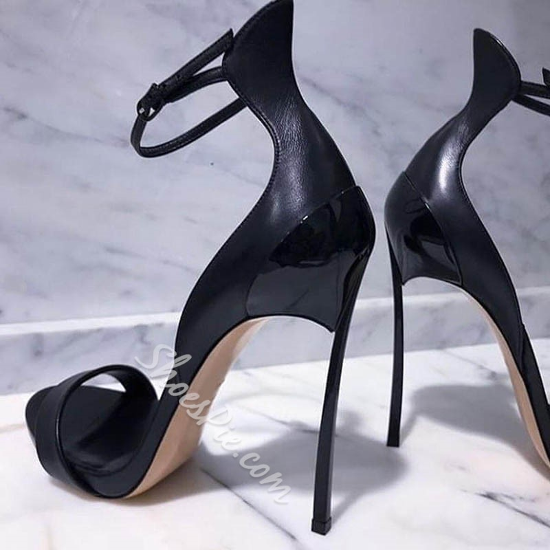Black Line-Style Buckle Open Toe Stiletto Heels