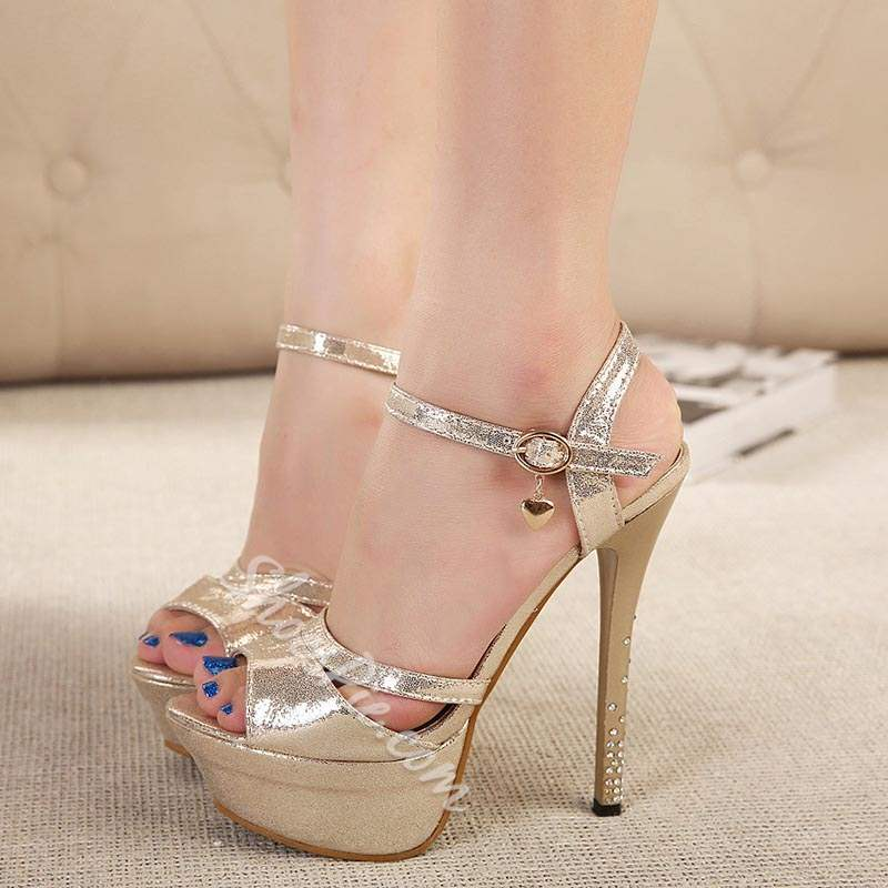 Casual Platform Ankle Strap Buckle Stiletto Heels