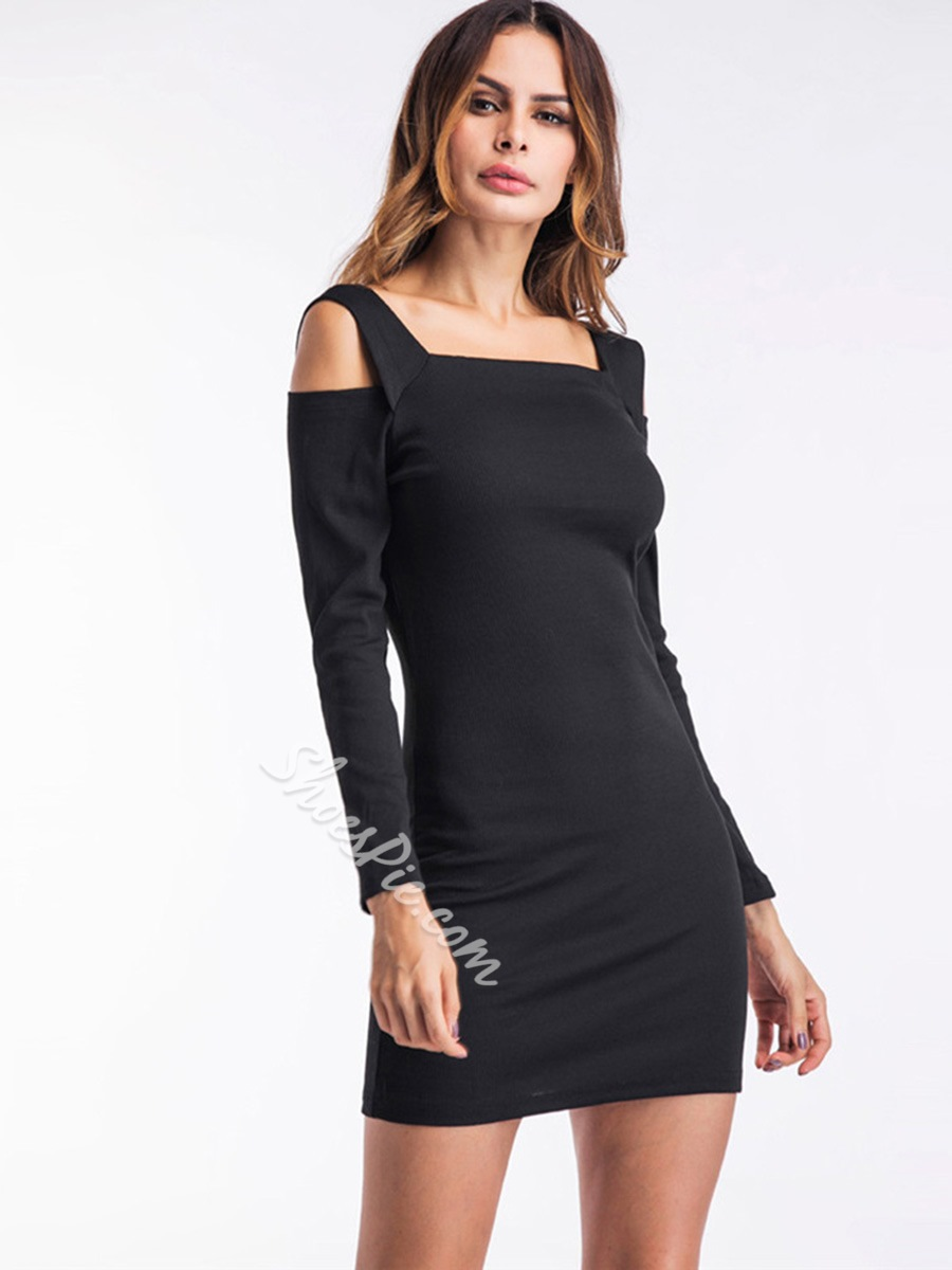 Shoespie Single Square Neck Women's Bodycon Dress