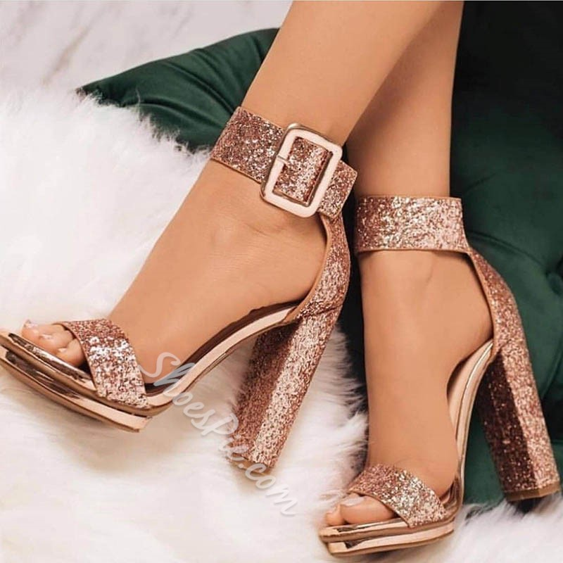 Brilliant Sequin Open Toe Line-Style Buckle Heel Sandals