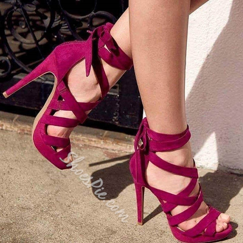 Shoespie Zipper Peep Toe Lace-Up Heel Sandals