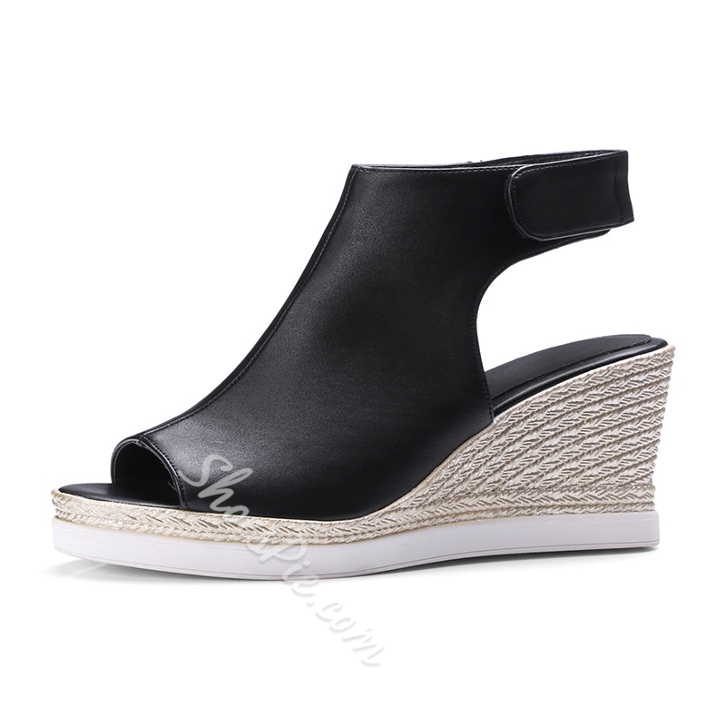 High Upper Velcro Wedge Sandals