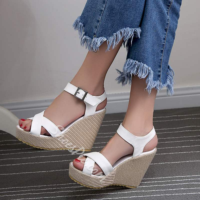 Casual Ankle Strap Buckle Wedge Sandals