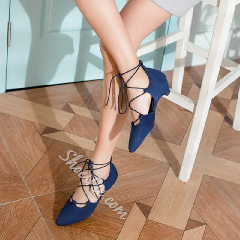 Shoespie Pointed Toe Chunky Heel Lace-Up Sandals