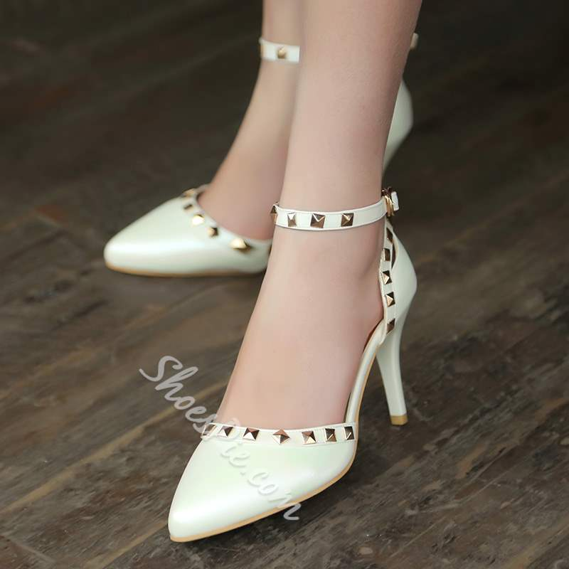 Rivet Line-Style Buckle Pointed Toe Stiletto Heels